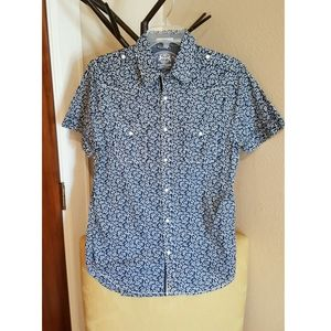 Express blue floral shirt